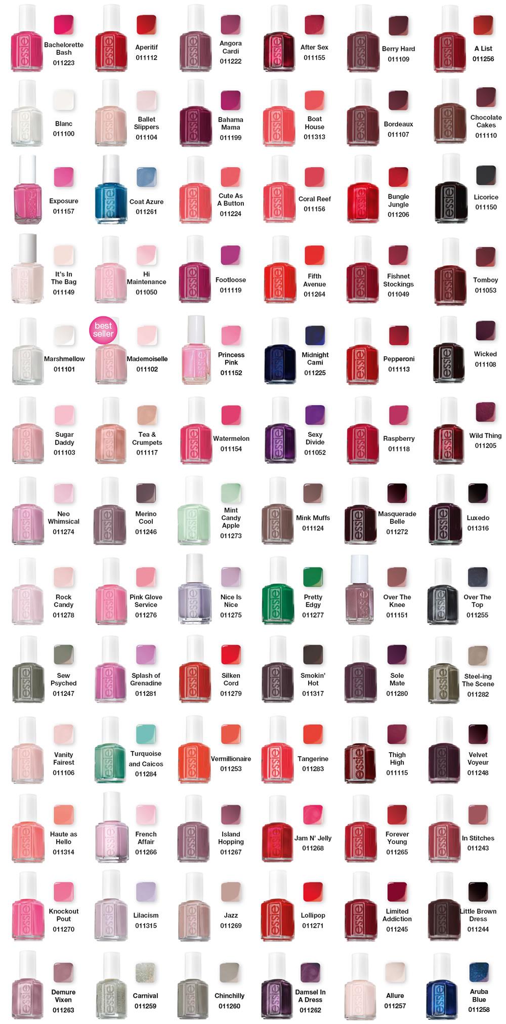 Essie Nail Polish Chart | All That Glitters