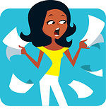 1-45843-Royalty-Free-RF-Clipart-Illustration-Of-A-Stressed-Out-Black-Woman-Holding-Paperwork