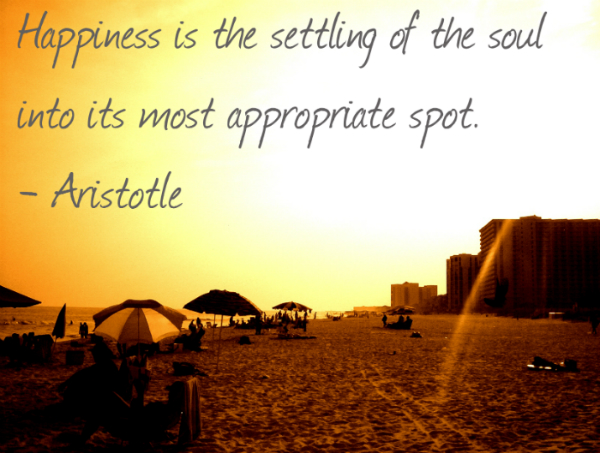 Happiness is the settling of the soul into its most appropriate spot.― Aristotle 4